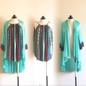 Tops - New! Fits M-7x Aztec Top/ w kimono cardigan set